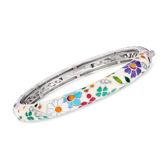 """Belle Etoile Flower Garden Enamel and .15 ct. t.w. CZ Bangle Bracelet in Sterling Silver. 7"""", , default"""