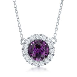 1.80 Carat Amethyst and .40 ct. t.w. White Topaz Halo Necklace in Sterling Silver, , default