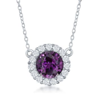 """1.80 Carat Amethyst and .40 ct. t.w. White Topaz Halo Necklace in Sterling Silver. 16"""", , default"""