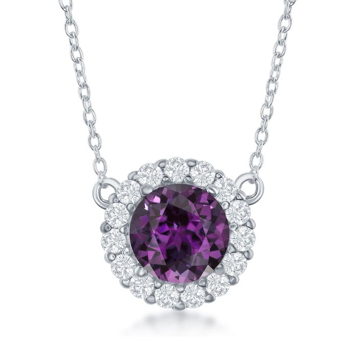 "1.80 Carat Amethyst and .40 ct. t.w. White Topaz Halo Necklace in Sterling Silver. 16"", , default"