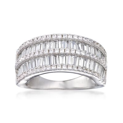 4.55 ct. t.w. Baguette and Round CZ Ring in Sterling Silver, , default