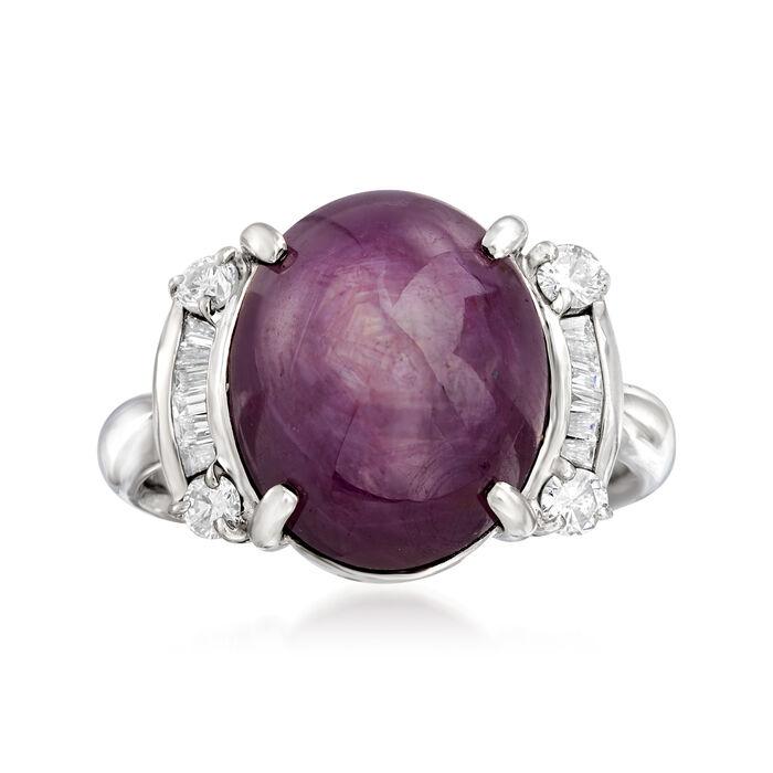C. 1990 Vintage 15.79 Carat Purple Star Sapphire and .38 ct. t.w. Diamond Ring in Platinum. Size 7