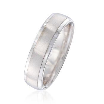Men's 6.5mm 14kt White Gold Brushed and Polished Wedding Ring, , default
