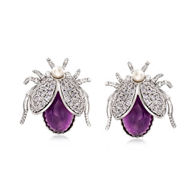 Italian Cultured Pearl and 6.00 ct. t.w. Amethyst Beetle Earrings with 1.50 ct. t.w. CZs in Sterling Silver, , default