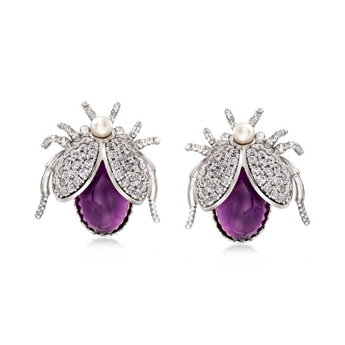 Italian Cultured Pearl and 6.00 ct. t.w. Amethyst Beetle Earrings with 1.50 ct. t.w. CZs in Sterling Silver