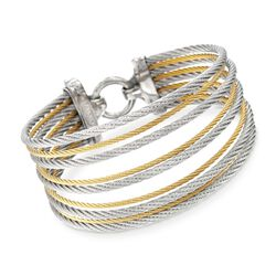 "ALOR ""Classique"" Two-Tone Stainless Steel Multi-Cable Bracelet With 18kt Yellow Gold, , default"