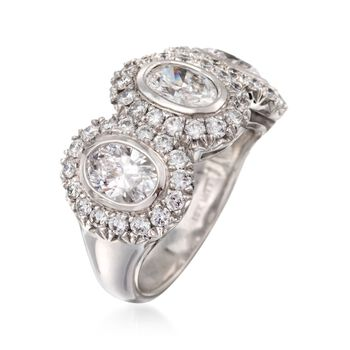 2.80 ct. t.w. Diamond Three-Stone Halo Ring in 18kt White Gold, , default