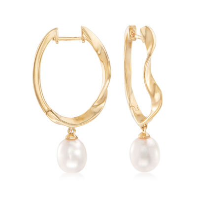 Cultured Pearl and Wavy Hoop Earrings in 18kt Gold Over Sterling, , default