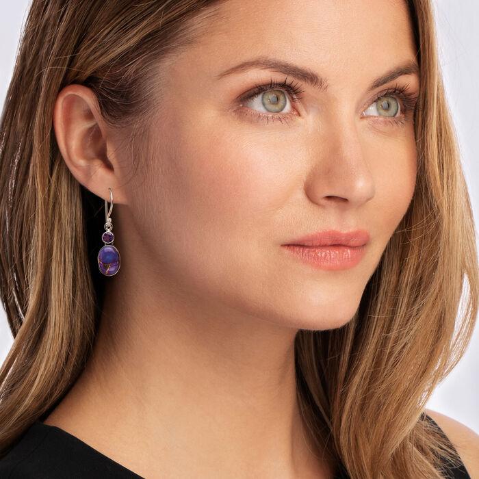 Kingman Purple Copper Turquoise and Amethyst Drop Earrings in Sterling Silver