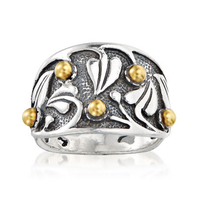 Sterling Silver with 14kt Yellow Gold Leaf Ring
