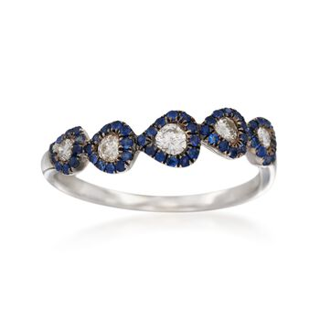 .24 ct. t.w. Diamond and .20 ct. t.w. Sapphire Ring in 14kt White Gold, , default
