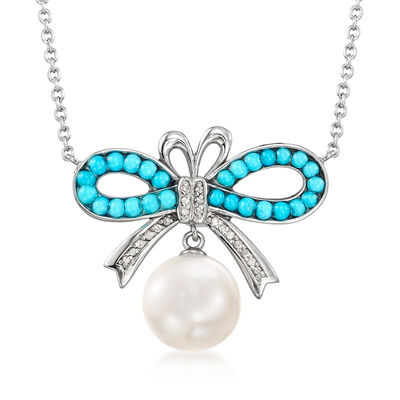 10-11mm Cultured Pearl, Turquoise and .62 ct. t.w. Diamond Bow Necklace in Sterling Silver