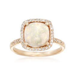 Opal and .23 ct. t.w. Diamond Ring in 14kt Yellow Gold, , default