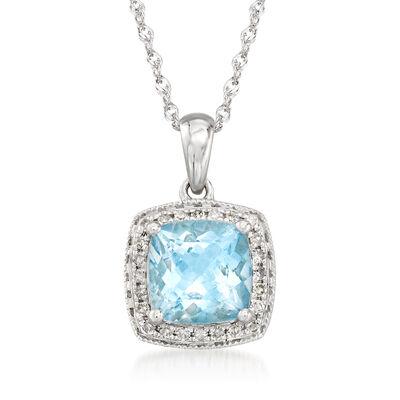 1.20 Carat Aquamarine and .10 ct. t.w. Diamond Pendant Necklace in 14kt White Gold, , default