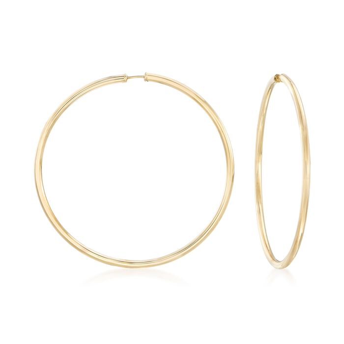 "2.5mm 14kt Yellow Gold Endless Hoop Earrings. 2 1/4"", , default"