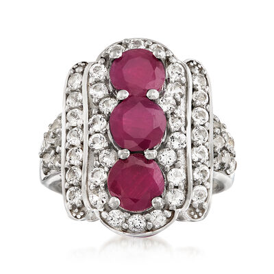 2.80 ct. t.w. Ruby and 2.00 ct. t.w. White Topaz Ring in Sterling Silver, , default