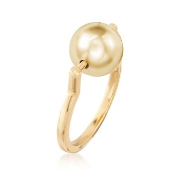 Italian 10mm 18kt Yellow Gold Over Sterling Silver Spinable Bead Ring, , default
