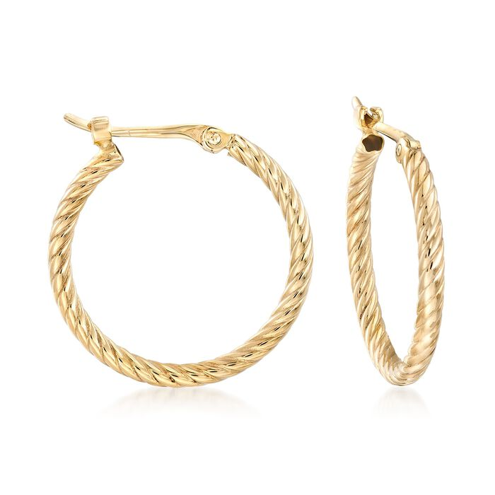 "14kt Yellow Gold Petite Twisted Hoop Earrings. 5/8"", , default"