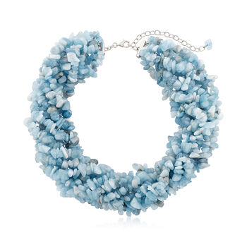 "Aquamarine Torsade Necklace with Sterling Silver. 18"", , default"