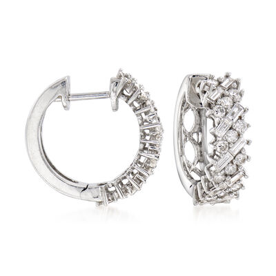 C. 1990 Vintage 1.35 ct. t.w. Round and Baguette Diamond Hoop Earrings in 18kt White Gold , , default