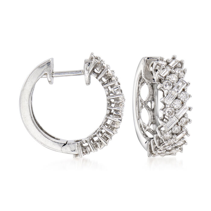 """C. 1990 Vintage 1.35 ct. t.w. Round and Baguette Diamond Hoop Earrings in 18kt White Gold. 1/2"""", , default"""