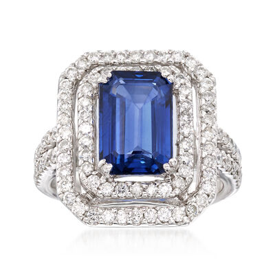 3.90 Carat Sapphire and 1.20 ct. t.w. Diamond Ring in 14kt White Gold, , default