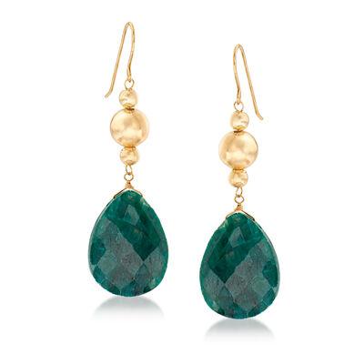 20.00 ct. t.w. Emerald Drop Earrings in 14kt Yellow Gold, , default