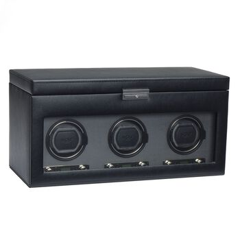 """Viceroy"" Black Faux Leather Triple Watch Winder With Storage by Wolf Designs, , default"