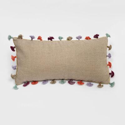 Joanna Buchanan Taupe Linen Rainbow Tassel Mini Lumbar Pillow, , default
