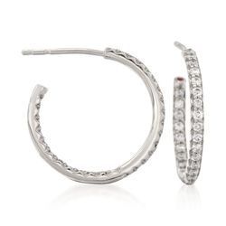 Roberto Coin .52 ct. t.w. Diamond Inside-Outside Hoop Earrings in 18kt White Gold, , default