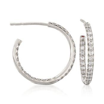 "Roberto Coin .52 ct. t.w. Diamond Inside-Outside Hoop Earrings in 18kt White Gold. 3/4"", , default"
