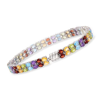 20.50 ct. t.w. Multi-Gemstone Double-Row Bracelet in Sterling Silver with Magnetic Clasp, , default