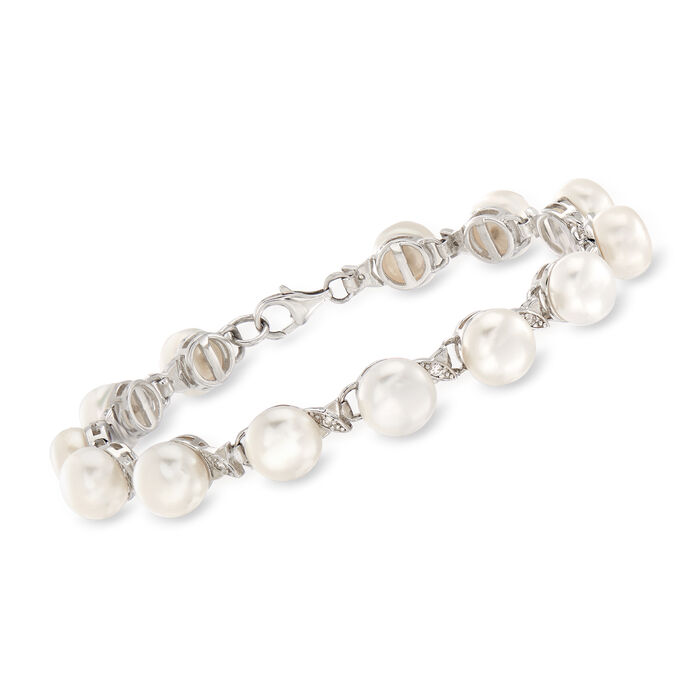 7-8mm Cultured Pearl and .13 ct. t.w. Diamond Bracelet in Sterling Silver, , default
