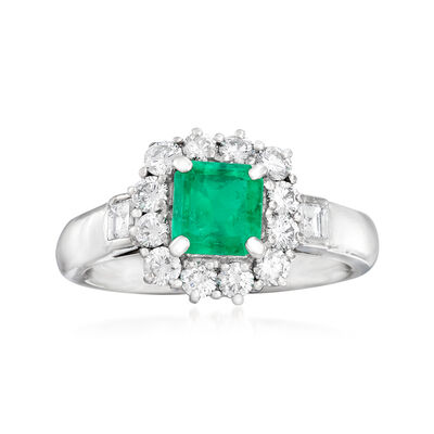 C. 1990 Vintage 1.00 Carat Emerald and .85 ct. t.w. Diamond Ring in Platinum