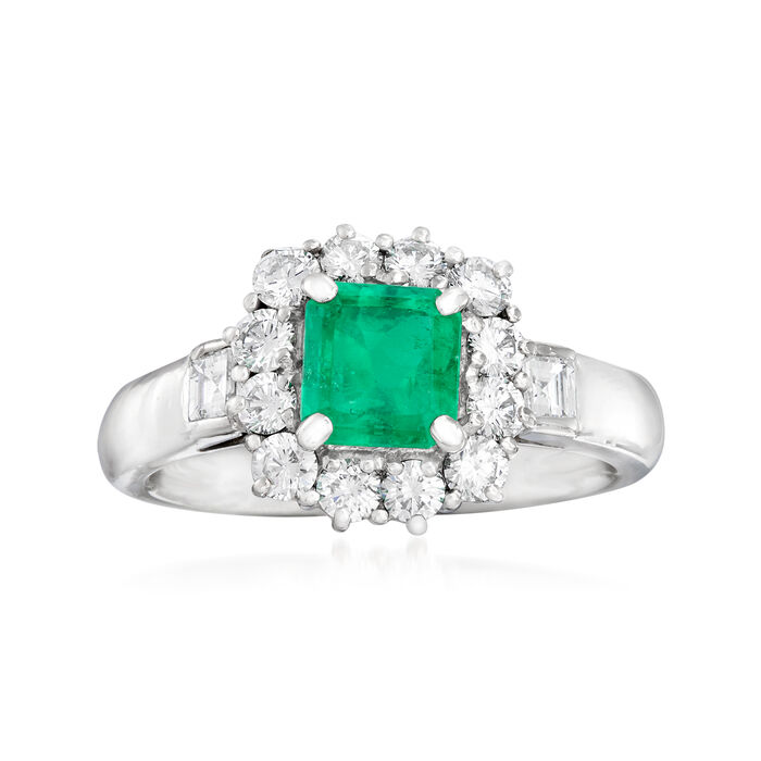 C. 1990 Vintage 1.00 Carat Emerald and .85 ct. t.w. Diamond Ring in Platinum. Size 6.5, , default