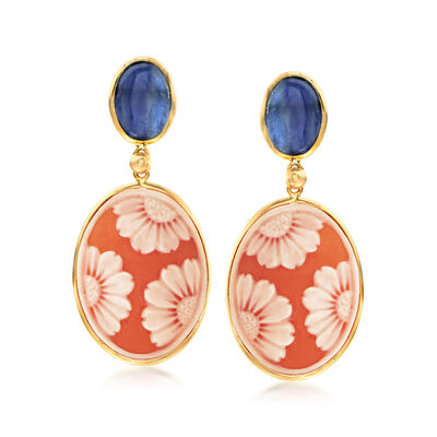 Italian Shell Cameo and 4.00 ct. t.w. Kyanite Drop Earrings in 14kt Yellow Gold, , default