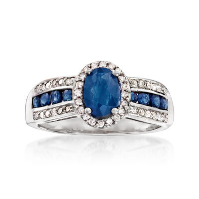 1.40 ct. t.w. Sapphire and .20 ct. t.w. Diamond Ring in 14kt White Gold, , default