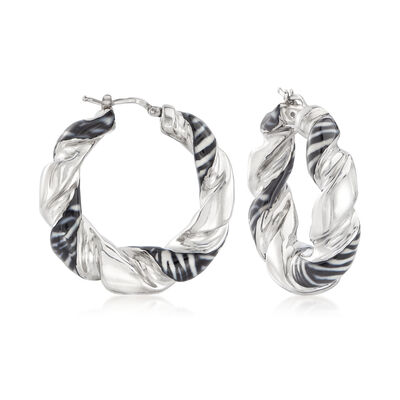 Italian Zebra-Print Enamel Twisted Hoop Earrings in Sterling Silver