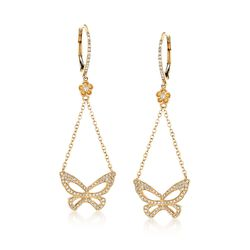 .44 ct. t.w. Diamond Butterfly Drop Earrings in 14kt Yellow Gold, , default