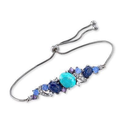 Turquoise and Lapis Bolo Bracelet with .90 ct. t.w. Multi-Stones in Sterling Silver, , default