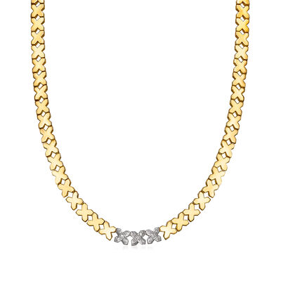 """C. 1990 Vintage .25 ct. t.w. Diamond """"X"""" Link Necklace in 14kt Yellow Gold, , default"""