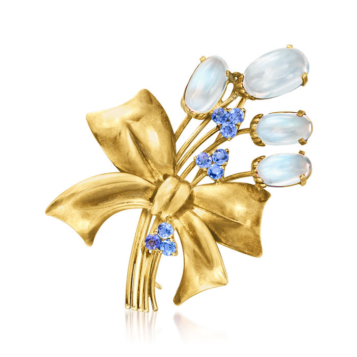 C. 1940 Vintage 11.50 ct. t.w. Moonstone and 1.10 ct. t.w. Sapphire Flower Bouquet Pin in 14kt Yellow Gold
