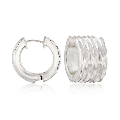 "Zina Sterling Silver ""Desert Wave"" Hinged Hoop Earrings, , default"