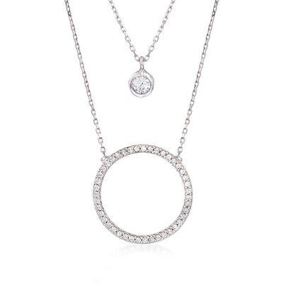 .75 ct. t.w. CZ Layered Circle Necklace in Sterling Silver, , default