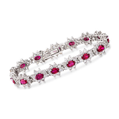 Oval Simulated Ruby and 2.40 ct. t.w. CZ Tennis Bracelet in Sterling Silver, , default