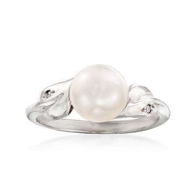 C. 1990 Vintage Cultured Pearl Ring with Diamond Accents in 14kt White Gold, , default