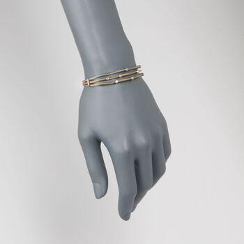 "ALOR ""Classique"" .18 ct. t.w. Diamond Tri-Colored Cable Bracelet with 18kt Two-Tone Gold. 7"""