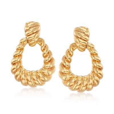 Italian Andiamo 14kt Yellow Gold Ribbed Doorknocker Earrings, , default