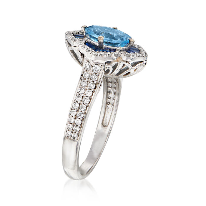 2.10 Carat Aquamarine, .90 ct. t.w. Sapphire and .48 ct. t.w. Diamond Ring in 14kt White Gold