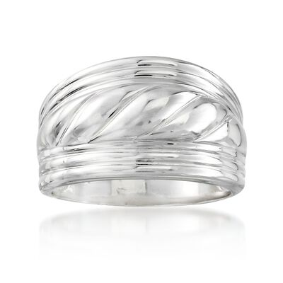 Sterling Silver Wide Roped Ring, , default